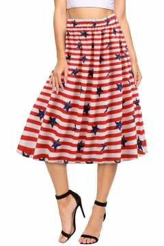 Hot Fashion Independence Day Red Stripe Star Flag Print Midi A-Line Flare Skirt