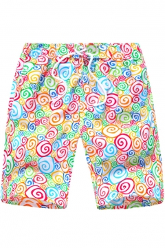 66acad5418 Funny Cartoon Colorful Candy Pattern Drawstring Waist Casual Loose Beach Shorts  Swim Shorts