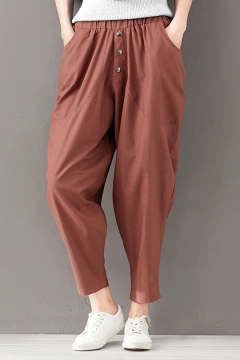 f262d491 Summer Basic Solid Color Elastic Waist Button-Fly Linen Harem Pants for  Women