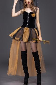 New Fashion Womens Halloween Witch Cosplay Costume Black Corset Top Yellow Mini Mesh Dress