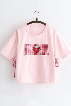 9c39480b7 Summer Cute Strawberry Embroidery Bow-Tied Side Loose Relaxed T-Shirt for  Girls