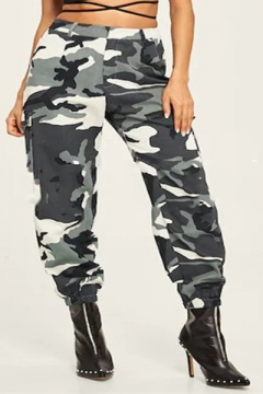 d0e80933bcd186 Hot Fashion Women's Green Camo Printed Unisex Casual Track Pants