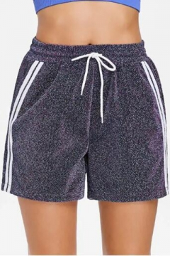 Unique Glitter Light Blue Fashion Stripe Side Drawstring Waist Sport Loose Shorts for Women