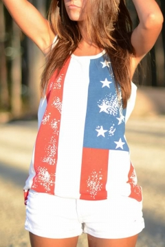 Summer Hot Fashion Stripe Star Flag Printed Casual Relaxed Tank Top