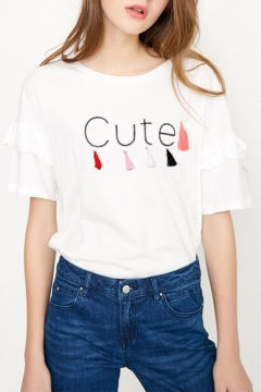 CUTE Letter Tassels Printed Round Neck Flutter Sleeve White Tee