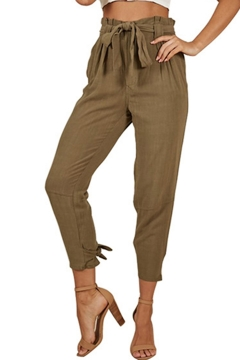 b69f1ee6 Womens Basic Solid Color Tied Waist High Rise Bow-Tied Cuff Carrot Pants  Tapered Trousers