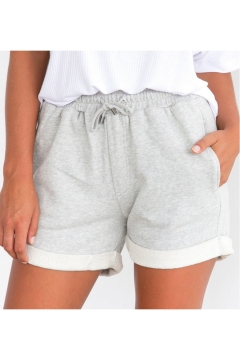 Womens Simple Solid Color Drawstring Waist Sport Sweat Shorts