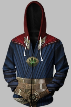 Marvel Avengers 4 EndGame Dr Strange 3D Print Long Sleeve Zip Up Hoodie in Blue