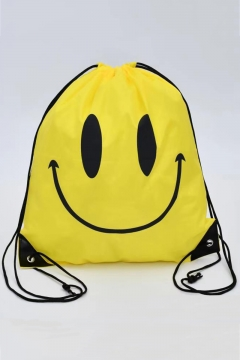 Polyester Cartoon Smile Print Yellow String Backpack