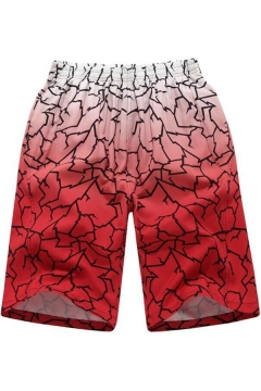 Stylish Ombre Color Guys Summer Holiday Beach Swimwear Red Swim Trunks