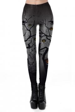 Halloween Horror Pumpkin Printed Womens Grey Slim Fit Leggings