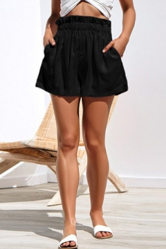 Hot Fashion Simple Solid Color Elastic Waist Wide-Leg Paperbag Shorts for Women