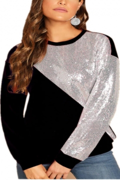 Hot Fashion Women's Round Neck Long Sleeve Colorblock Sequined Patched Sweatshirt