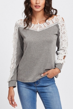 Solid Color Hollow Lace Patchwork Gray V Neck Long Sleeve Pullover Sweatshirt