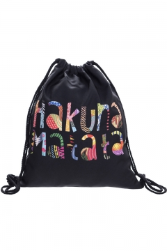 a99666cfa Trendy Colored Letter Printed Black Storage Bag Drawstring Backpack 30*39 CM