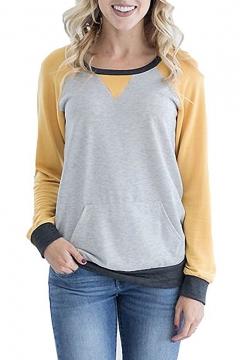 Colorblock Round Neck Raglan Patchwork Sleeve Casual Pocket Sweatshirt