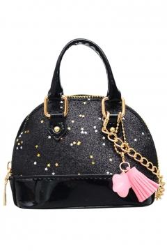 Fashion Stars Pattern Tassel Embellishment Mini Sequined Satchel Shoulder Bag