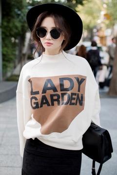 LADY GARDEN Letter Mock Neck Long Sleeve White Sweatshirt