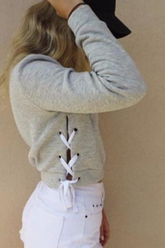 Hot Sale Mock Neck Long Sleeve Lace Up Hollow Crop Plain Pullover Sweatshirt