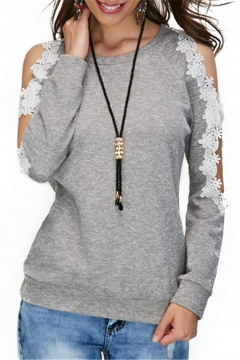 Solid Color Cut Out Floral Patchwork Round Neck Cold Shoulder Long Sleeve Gray Sweatshirt
