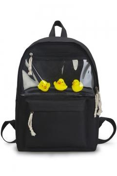 Popular Transparent Patchwork Solid Color Canvas School Bag Backpack 29*12*40 CM
