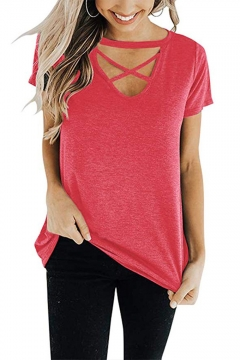 Womens Sexy Hollow Crisscross V-Neck Short Sleeve Casual Loose Plain T-Shirt