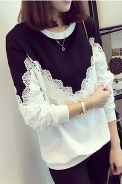 Hot Fashion Colorblock Round Neck Long Sleeve Lace Patchwork Sweatshirt