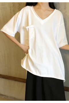Summer Popular Simple Plain V-Neck Short Sleeve Split Side Oversized Cotton T-Shirt