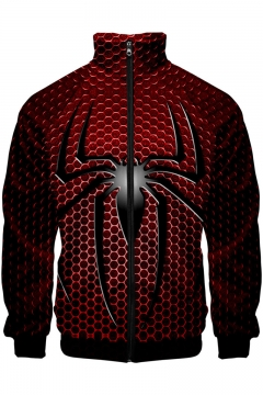 New Trendy Cool Spider Far From Home Stand Collar Long Sleeve Zip Up Red Jacket