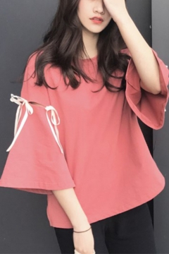 Fashion Hollow Out Bow-Tied Bell Sleeve Solid Color Relaxed T-Shirt