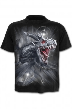 Summer New Stylish Stand Collar Short Sleeve 3D Dragon Print Black T-Shirt For Men