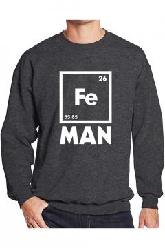 Hip Hop Style Cool Unique Square Letter Fe MAN Printed Crewneck Long Sleeve Pullover Sweatshirt