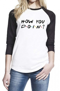 New Stylish Dot Letter HOW YOU DOIN Raglan Long Sleeve Casual Loose T-Shirt