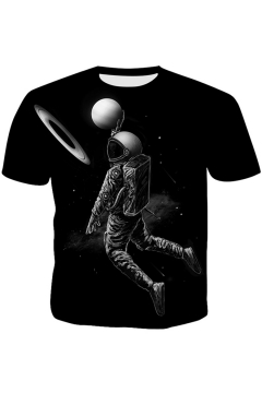 Summer Cool Space Astronaut 3D Printed Basic Round Neck Short Sleeve Black Tee