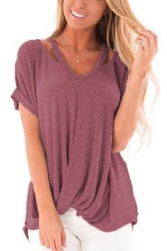 Fashion Simple Plain Cutout Short Sleeve V-Neck Twist Hem Loose Fit T-Shirt