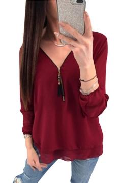 6585d2705 Women's V Neck Long Sleeve Tassel Zip Solid Chiffon T-Shirt