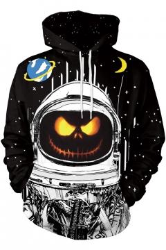 Halloween Cartoon Galaxy Moon Pumpkin Pattern Long Sleeve Black Hoodie