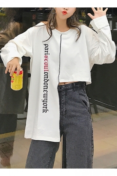 Hot Sale Round Neck Long Sleeve Letter Asymmetric Hem Sweatshirt