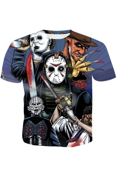 Cool Halloween Horror Skull Figure Print Round Neck Short Sleeve Blue T-Shirt