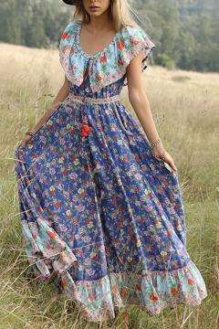 2d36e33654 Women's Summer Fashion Scoop Neck Short Sleeve Floral Printed Maxi Boho Beach  Dress