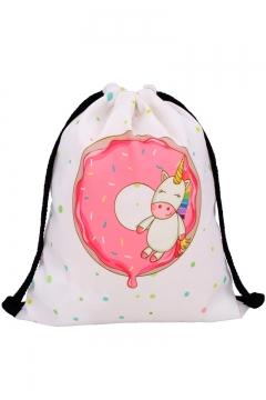 339ebe958 Hot Fashion Unicorn Polka Dot Printed White Storage Bag Drawstring Backpack  30*39 CM