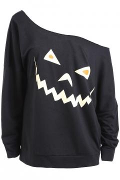 Halloween Cartoon Egg Pumpkin Printed One Shoulder Long Sleeve Black Sweatshirt