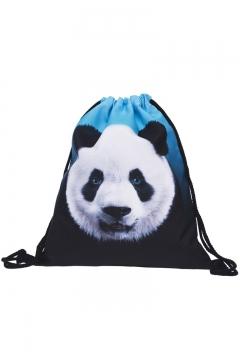 112ec715d Fashion Creative 3D Panda Printed Blue and Black Drawstring Backpack 30*39  CM