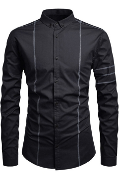 Mens Stylish Contrast Piping Long Sleeve Fitted Button Down Shirt