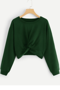 Hot Sale Solid Color Round Neck Long Sleeve Knot Front Cropped Sweatshirt