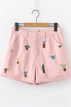 Girls Summer Cute Cactus Embroidery Rolled Cuff High Rise Pink Shorts