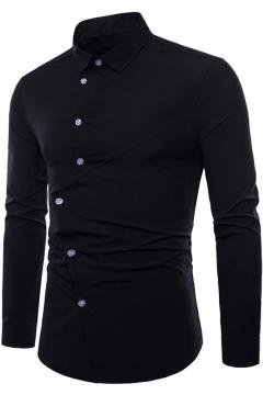 Mens Unique Stylish Irregular Patchwork Long Sleeve Simple Plain Slim Shirt