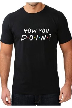 Stylish Dot Letter HOW YOU DOIN Print Basic Round Neck Short Sleeve T-Shirt