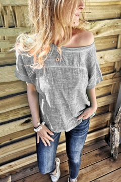 Womens Summer Hot Popular Solid Color One Shoulder Short Sleeve Relaxed T-Shirt
