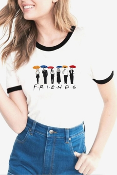 New Stylish FRIENDS Cartoon Figure Print Contrast Hem Short Sleeve White Tee